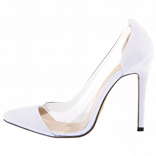 HooH Femmes Pointu Transparent Glissement Stiletto Escarpins Blanc