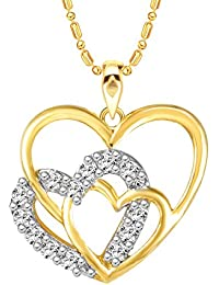 Sukai Jewels Bonded Heart Gold Plated Alloy Cz American Diamond Studded Pendant With Chain For Women & Girls [...