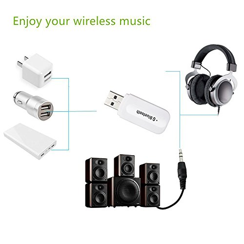 Bluetooth Music Ricevitore Adattatore USB, 3.5mm Audio Stereo Speaker Musica Ricevitore auto a mani libere mini USB senza fili di musica di Bluetooth Audio Ricevitore Receiver-White