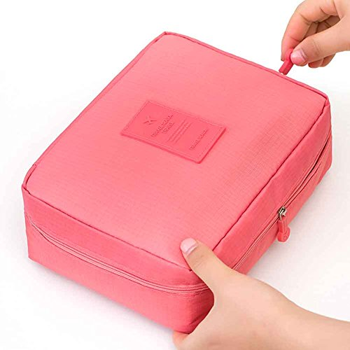 Fyore Dark Red Fabric Travel Makeup Organizer Waschtasche Arrangement Blöcke Reißverschluss 21x16cm Rosa