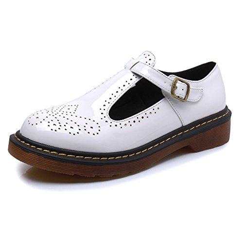 Smilun Damen Schnürschuhe mit Absatz Westernabsatz Blockabsatz Leder Weiß EU41