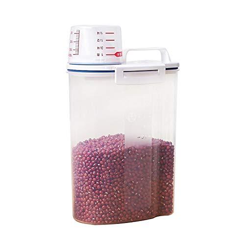YZH 2 kg Küche Aufbewahrungsbox Kunststoff Lebensmittel Weizenmehl Maschine Reis Box Sealed Pest Control Hygrometer Barrel mit Messbecher Dual-sealed Box