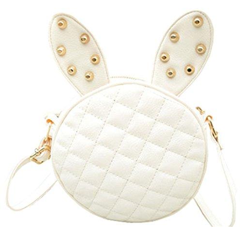 YanFeng cross-corpo spalla del messaggero del sacchetto rotonda dell'orecchio di coniglio nero Bianco