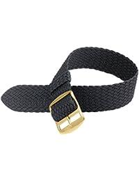 Davis B0310G - Bracelet Montre Perlon Nylon Noir 18mm Haute Qualité