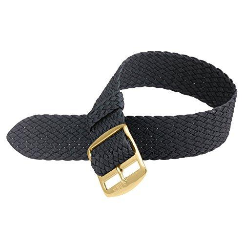Davis - 18mm Armband Uhr Perlon Nylon Schwarz Hochwertige Qualität (Gold)