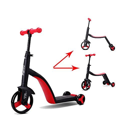 ZNDDB Kinder Laufrad - 3-In-1-Balance Auto Roller Dreirad Für Kinder Im Alter Von 2-6, Lager 25Kg,Red