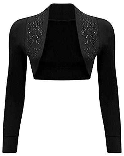 Der neuen Frauen Langarm-Perlen Pailletteentwurf Bolero Cardigan Tops 36-54 Black