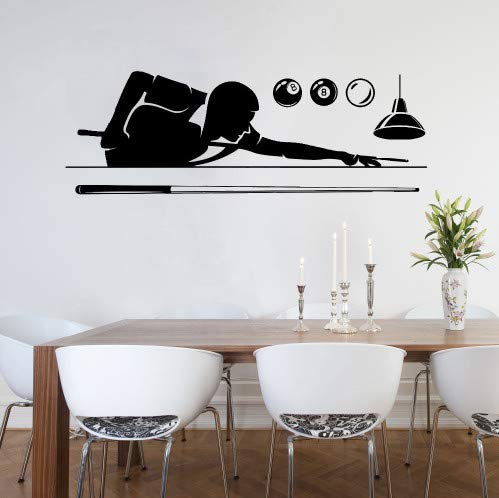 ahliwei Wandaufkleber Wandtattoo Billard Pool S Wohnzimmer Sport Kunstwand Mann Schlafzimmer Abnehmbare Poolroom Fenster Logo 167X57 cm -