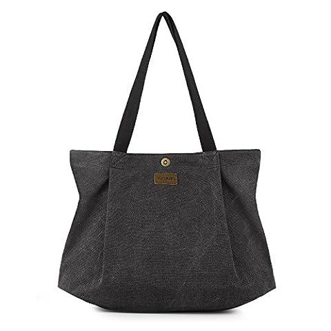 SMRITI Canvas Shopper Tasche Schultertasche für Schule Reisen Arbeit und Einkäufe - Schwarz