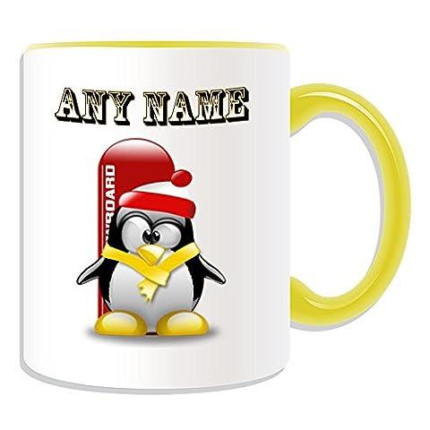 Personalisiertes Geschenk–Snowboard–# 1Tasse (Pinguin in Kostüm Design Thema, Farbe Optionen)–alle Nachricht/Name auf Ihre einzigartige–Boarding Extreme Sport Skateboard Winter Olympics, keramik, (Olympic Sport Kostüme)