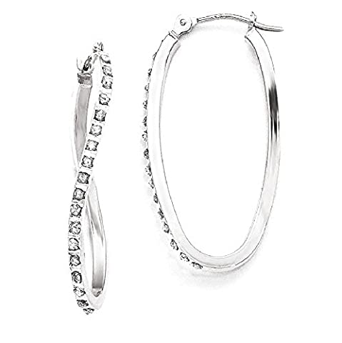 IceCarats 14k White Gold Diamond Fascination Twist Hinged Hoop Earrings Ear Hoops Set For Women