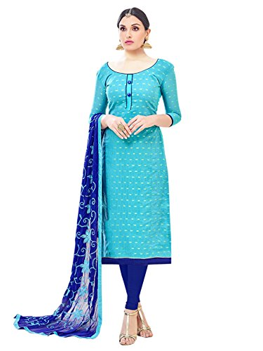 Women's Poly Cotton Unstitched Salwar Suit with Embroidery Dupatta
