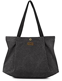 SMRITI Canvas Shopper Tasche Schultertasche für Schule Reisen Arbeit und Einkäufe
