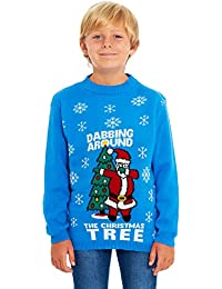 HSA Girls Kids Boys Children Unisex Christmas Xmas Knitted Novelty, Retro, Elf, Star Wars Football Jumper Sweater Christmas Xmas Exclusively to Ltd for Ages 2-14 Years