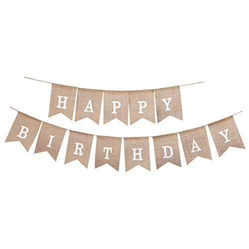 (Soleebee Happy Birthday Geburtstag Sackleinen Banner, perfekte DIY Dekoration Dreieck Flagge Wimpelkette für Hochzeit, Babydusche, Geburtstag, Party und Anderen Feiern (Weiß))