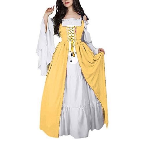 Damen Mittelalterliche Kleid mit Trompetenärmel Mittelalter Party Kostüm Maxikleid Kalte Schulter Empire Partykleider Vintage Retro Cross Strappy Wickelkleid Dekolletiert Einteiler (L, Gelb)