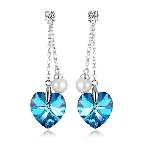 PLATO H Orecchini a mano con cristallo scintillante di gioielli SWAROVSKI® Valentino cuore blu con doni perla progettazione di goccia orecchini per le donne