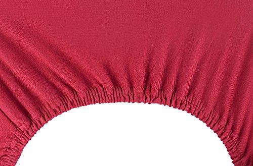DecoKing 18804 80x200-90x200 cm Spannbettlaken Bordeaux 100% Baumwolle Jersey Boxspringbett Spannbetttuch Bettlaken Betttuch Maroon Nephrite Collection - 6