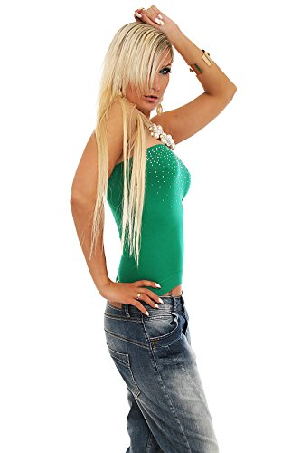 4605 Fashion4Young Damen Trägerloses Bandeau-Top Verfügbar in 2 Größen 4 Farben Grün
