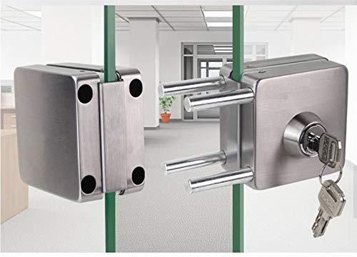 41jn17hIVBL - NUZAMAS Cerradura de puerta de cristal doble de acero inoxidable 201, acabado cepillado cuadrado, ambos lados abiertos, sin marco, para vidrio de 10 - 12 mm de grosor, para casa, oficina, muebles