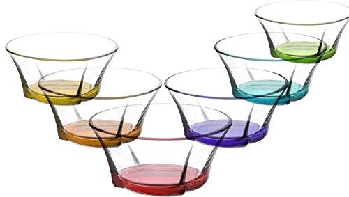 LAV 6tlg Glasschalen Truva mit farbige Boden Schalen Glasschale Dessertschale farbige Glasschale Vorspeise Glas Gläser 190 ml