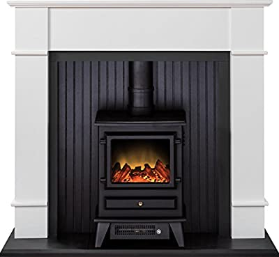 Adam Oxford Stove Suite in Pure White with Hudson Electric Stove in Black, 48 Inch