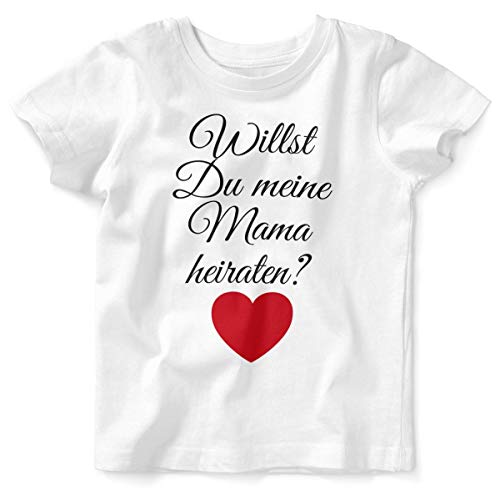 Mikalino Baby/Kinder T-Shirt mit Spruch für Jungen Mädchen Unisex Kurzarm Willst Du Meine Mama heiraten ? | handbedruckt in Deutschland | Handmade with Love, Farbe:Weiss, Grösse:92/98 (Für Mama Und Mich Kostüm)