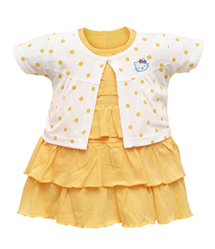 Orange and Orchid Baby Girls Cotton Frock (Yellow, 0-6 Months)