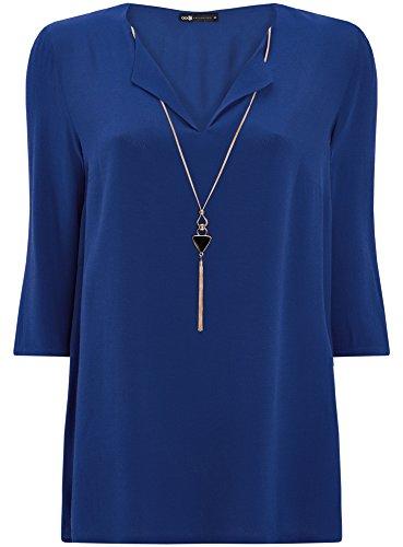 oodji Collection Damen Gerade Bluse mit Verzierung Blau (7500N)
