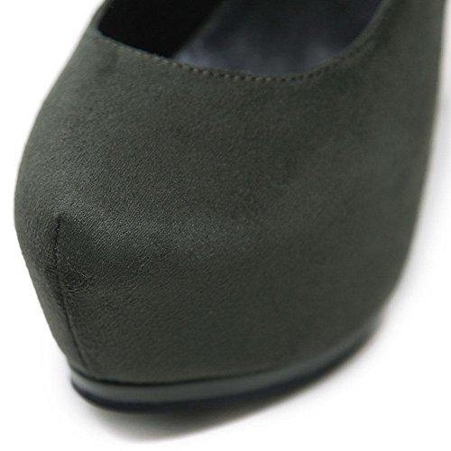 Wywq 2018 Printemps Nouveau Vison Cheveux Super Haut Talon Imperméable Plate-forme Ronde Perle Chaussures Simples Femme Faible Bouche Vert Noir 34 35 36 37 38 39 Vert