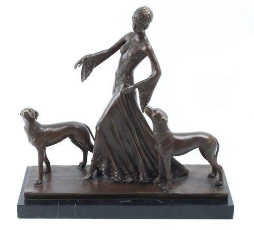 Scultura in bronzo, stile Art Déco, Lady su Base in marmo G. Gori The Guardians