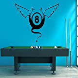 XCJX Kreatives Design Billard Wandaufkleber Pool Spiel Aufkleber Snooker Sport Hause Innendekoration Removable Muursticker 83x57 cm