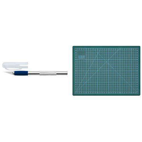 Wedo 78621 Skalpell und Ersatzklingen (aus Aluminium) silber & Wedo 79130 Schneideunterlage Cutting Mat A4 (CM 30, selbstschließende Oberfläche, 30 x 22 x 0,3 cm) grün