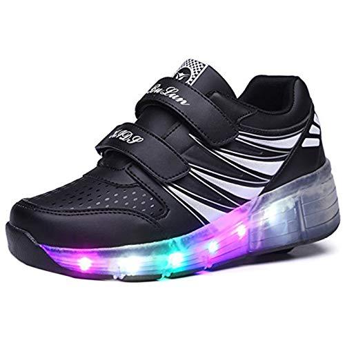 Kinder Schuhe mit Rollen Light Skateboardschuhe Rollschuhe Wheels Schuhe Sportschuhe Turnschuhe Laufschuhe Sneakers mit Rollen für Jungen Mädchen Schwarz Weiß 33