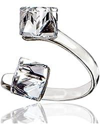 Anillo de cristales de Swarovski, anillo de cristal ajustable, plata de ley 925