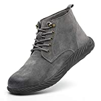 Safety Shoes for Men Women Steel Toe Work Construction Shoes Casual Sneakers(gray2 43/11 B(M) US Women/9 D(M) US Men)