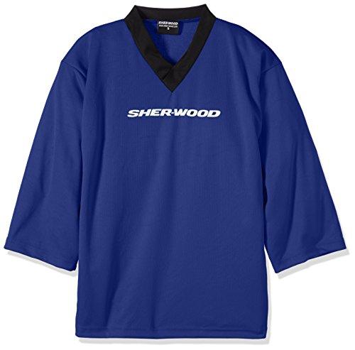 SHER-WOOD - Eishockey Trainingstrikot Junior für Kinder I stilvolles Practice Jersey aus gelochtem Mesh-Stoff I V-Neck Jersey zum Trainieren I tolle Passform I wird über den Brustpanzer gezogen, Blau, Gr. XS