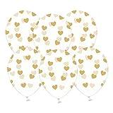 6 kristallklare Luftballons mit goldenen Herzen - Ideale transparente Ballondeko - Kleenes Traumhandel®