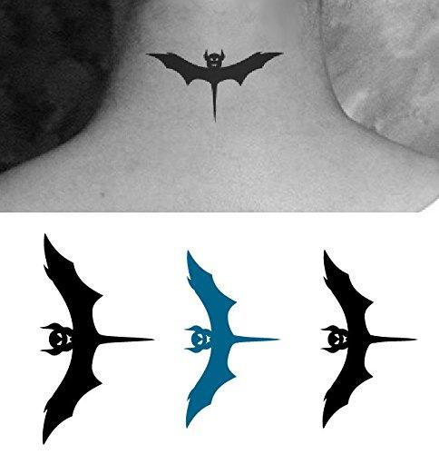 nst Entfernbare Tattoo Aufkleber Fledermaus - HC1020 Sticker Tattoo Temporary Tattoo - FashionLife (Fledermaus-make-up)