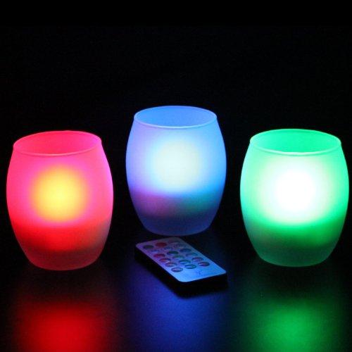 Frostfire 6012 - Juego de 3 velas artificiales con cambio de color y mando a distancia, vidrio esmerilado