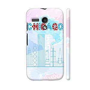 Colorpur Chicago Line Art On Watercolors Designer Mobile Phone Case Back Cover For Motorola Moto G1 | Artist: Designer Chennai