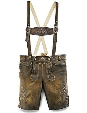 Maddox Kurze Lederhose Rafael - Antik Nuss - Kurze Lederhose mit Stegträgern für Herren - Markenware von Country...