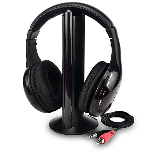 Auriculares inalámbricos de TV Inicio Auriculares para Ver televisión, Ears de TV Micrófono 5 en 1 Funciones con Transmisor/Radio FM/Conector de 3,5 mm/Chat en Red y monitoreo