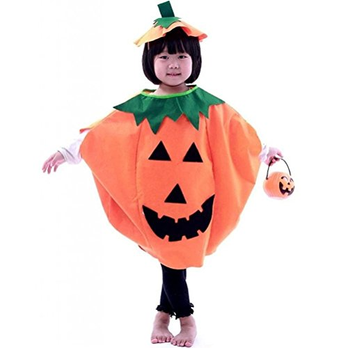 er Halloween Laterne Gesicht Kürbis Kostüm in Non-Woven Shirt Kinderkleidung mit komischer Hut (Orange) ()