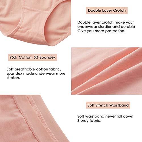 K-cheony Comfort Damen Hoher Taille Baumwolle Unterwäsche Weiche Slip Panty Regular und Übergröße - - Mittel - 6