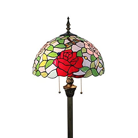 Gweat Tiffany 16 Pouces Style Pastoral Stained Glass Rose Series Floor Lamp