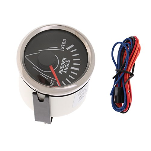 IPOTCH Ruderwinkelmesser Ruderanzeige Ruderstandsanzeige Steueranzeige Kraftstoffförderung Einspritzanlagen - Schwarzes Chrom