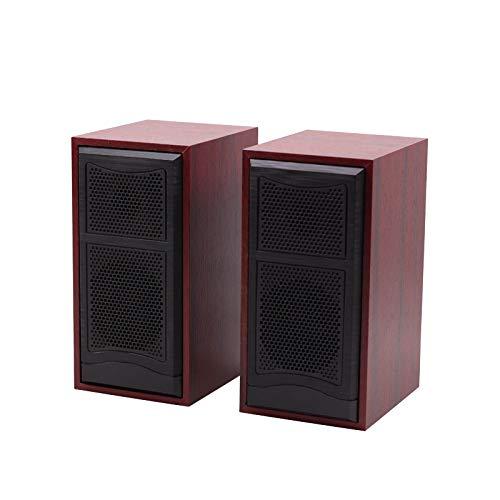 OUYAWEI Hölzerne Computer-Lautsprecher 2.0 Stereo USB angetriebene Mini-Lautsprecher für PC / Laptops / Desktops / Telefon / Ipad / Spielmaschine Rote Holzmaserung