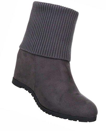 Damen Boots Schuhe Wedge Stiefeletten Stiefel Grau Weinrot 36 37 38 39 40 41 Grau