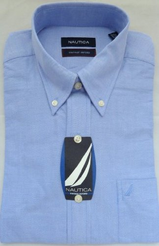 mens-shirt-nautica-designer-luxury-pure-cotton-rrp-55-blue-vintage-oxford-button-down-collar-155-32-